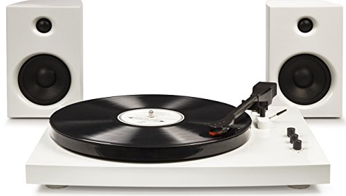 Crosley T100 2-Speed Bluetooth Turntable System with Stereo Speakers, White