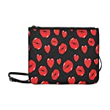 Lips Kiss And Heart Seamless Pattern Ori Pattern Custom High-grade Nylon Slim Clutch Bag Cross-body Bag Shoulder Bag