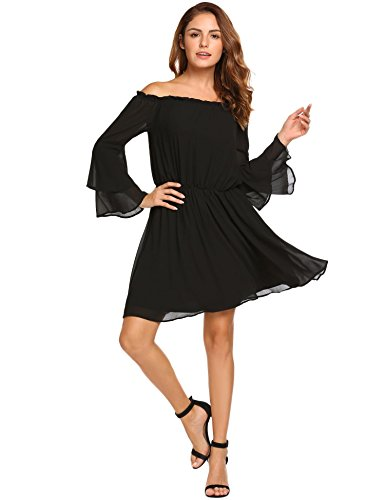 Material: Polyester, comfortable chiffon fabric with lining Feature: Off shoulder, long layered flare sleeve, elastic band on shoulder and waist Style: Off shoulder solid chiffon A-Line short dress