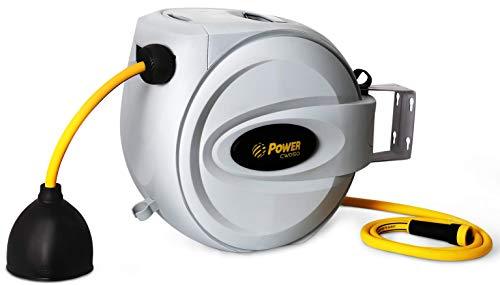 "Power Retractable Hose Reel 5/8"" x 75 ft, Super Heavy Duty, 500 PSI Burst Strength, 3 Layer Hybrid Hose"