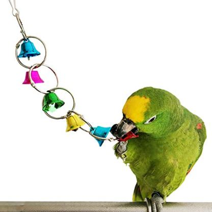 Bells Bird Toy Colorful Chewing Hanging Cage Bite 4