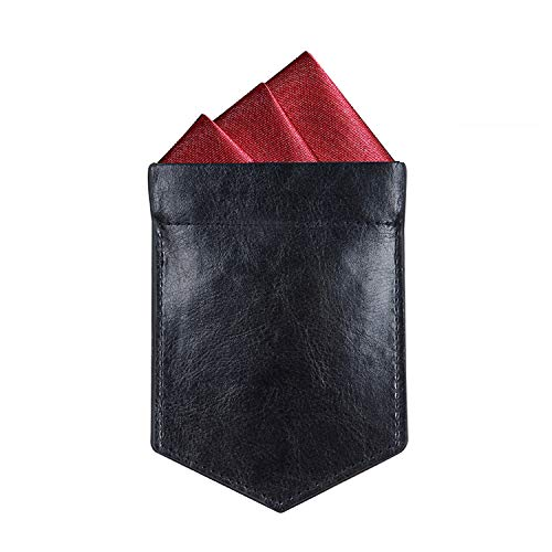 ONLVAN Pocket Square Holder Leather Slim Pocket Square Holder for Men's Suit Handkerchief Keeper (Black)