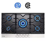 Gas Cooktop, Gasland chef GH90BF Built-in Gas Stove Top, Tempered Glass LPG Natural Gas Cooktop, Gas Stove Top with 5 Sealed Burners, ETL Safety Certified, Thermocouple Protection & Easy To Clean