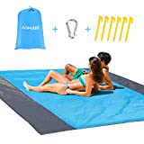 AOMAIS Sandfree Beach Blanket Large 108x 85.19''【Comfortable for 12+Adults】Outdoor Travel Accessories & Portable Family Camping Mat Waterproof Lightweight Soft &Durab with 6 Stakes & 4 Corner Pockets