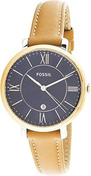 Fossil Women's Jacqueline Stainless Steel Quartz Watch with Leather Calfskin Strap, Brown, 14 (Model: ES4274)