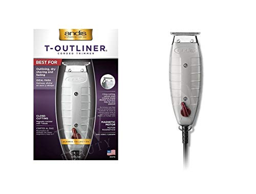 Andis Professional T-Outliner Beard/Hair Trimmer with T-Blade, Gray, Model GTO (04710) with a Blade Brush