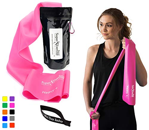 Super Exercise Band Heavy+ Pink 7 ft. Long Latex Free Resistance Bands Door Anchor Set, Carry Pouch, E-Book. for Home Gym, Strength Training, Physical Therapy, Yoga, Pilates, and Chair Workouts.