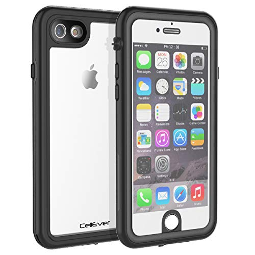 CellEver iPhone 6 / 6s Clear Case Waterproof Shock Absorbing IP68 Certified SandProof Snowproof Full Body Protective Transparent Cover Fits Apple iPhone 6 and iPhone 6s (4.7') KZ Black