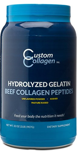 Collagen Peptides Powder 2lb (32oz) Jar - CLEAN COLLAGEN -Grass Fed - Paleo - Non GMO - High Protein - Highly Soluble - Unflavored Powder