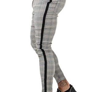 GINGTTO Mens Chinos Slim Fit Stretch Flat-Front Skinny Dress Pants Grey Plaid 7 Fashion Online Shop 🆓 Gifts for her Gifts for him womens full figure