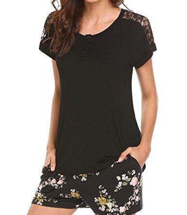 MAXMODA Women's Soft Scoop Neck Shorts Pajama Set Loungewear with Pocket S-XXL
