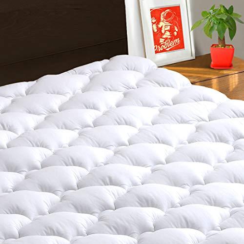 TEXARTIST Mattress Pad Cover Queen, Cooling Mattress Topper, 400 TC Cotton Pillow Top with 8-21' Deep Pocket