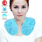 Ice Packs Neck Pillow for Neck Shoulder with Soft Plush Backing, Cooling Neck Wrap with Reusable Gel Beads, Hot/Cold Pack Therapy for Neck Pain Relief,Sore Shoulder and Stiff Muscles [Blue]