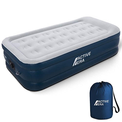 Active Era Premium Twin Size Air Mattress (Single) - Elevated Inflatable Air Bed, Electric Built-in Pump, Raised Pillow & Structured Air-Coil Technology, Height 21'