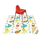 "Splat Mat for Under Highchair/Arts/Crafts, Wo Baby Reusable Waterproof Anti-Slip Floor Splash Mat, Portable Play Mat and Table Cover (51"", Seaworld)"