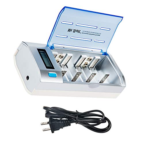 C Battery Charger, Mr.Batt LCD Rechargeable Battery Charger for AA AAA C D 9V Ni-MH Ni-CD Rechargeable Batteries with Discharge Function