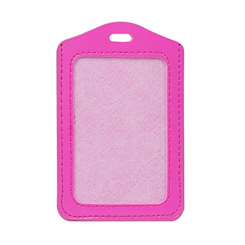 Qupida 1Pcs About 10 Colors ID Window Business Work Card Holder Leather Case Badge Vertical Type (Hot Pink)