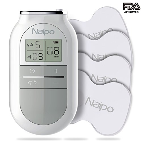 Naipo Tens Unit Muscle Stimulator Electronic Pulse Massager Tens Machine Device for Neck Shoulder Back Leg Pain with 4 Electrotherapy Pads, 5 Massage Modes, 16 Intensity Levels FDA Cleared