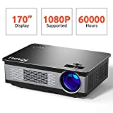 Projector, RAGU Upgraded HD Video Projector 4000L Outdoor Movie Projector,1080P Supported, 60,000 Hours Led, Compatible with Fire TV Stick, HDMI, VGA, USB, TF, iPhone, iPad