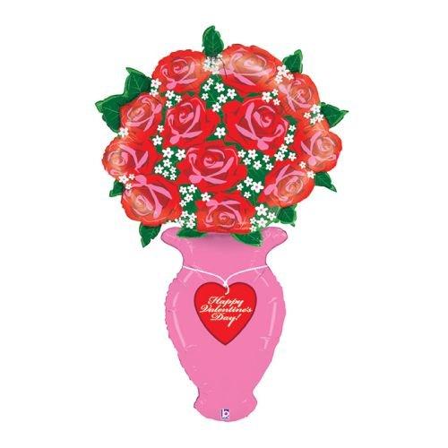 Burton & Burton Valentine Rose Vase 60' Mylar Balloon