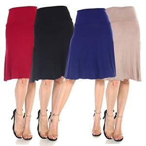 4 Pack of Women's Midi A-Line Basic Skirts – Solid with Fold Over Waist Band Flare Design 2 Fashion Online Shop 🆓 Gifts for her Gifts for him womens full figure