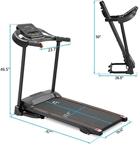 Unique-Shop Treadmills for Home 300 lbs Weight Capacity Folding Motorized Running Jogging Machine with Audio Speakers and Incline 4