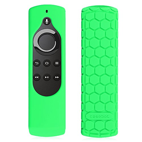 Fintie CaseBot Silicone Case for Amazon Fire TV Stick Voice Remote, Compatible with Amazon Echo / Echo Dot Alexa Voice Remote – Honey Comb Series [Anti Slip] Shock Proof Cover, Green-Glow in the Dark