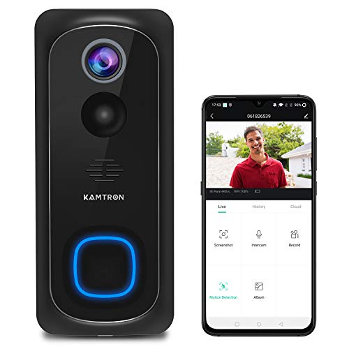 WiFi-Video-Doorbell-CameraKAMTRON-Wireless-Doorbell-Camera-with-Chime1080P-HD-PIR-Motion-Detection-with-2-Way-AudioIP65-Waterproof-and-Night-Vision32GB-SD-Card-InstalledCloud-Storage-Available