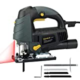 Ginour 6.7A 3000SPM Jigsaw Blade Set with Laser & LED ,3PCS Blades and, Bevel Angle (0°-45°), 6-level Variable Speed, Jig Saw Set With Carrying Case