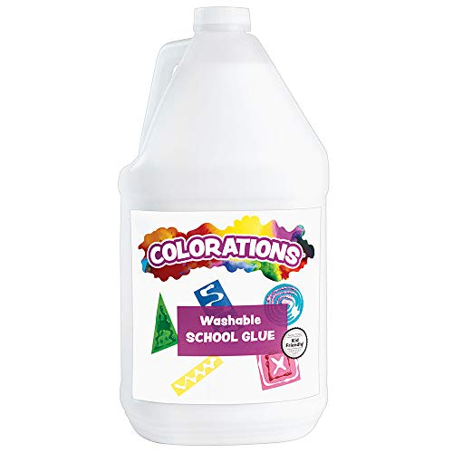 Colorations Washable White School Glue (1 Gallon) – Adheres and Bonds Easily to Paper, Wood, Felt, Foam and More – Dries Clear and Flexible – Perfect for Slime and Art Projects – Washable, Non-Toxic