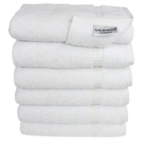 """SALBAKOS Premium Organic Turkish Cotton Hand Towels 6-Pack, 700 GSM, 16""""x30"""", White, Luxury Hotel & Spa"""