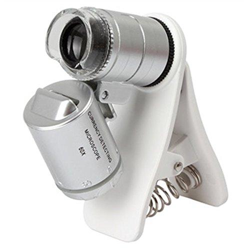 Microscopio Universal Mini de 60x Para Celular Con Clip Luz LED y UV OBI