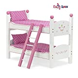 Emily Rose 18 Inch Doll Furniture | 2 Single Beds! - Stackable Doll Bunk Bed - Hand-Painted, Includes 2 Sets of Plush Bedding & Ladder | Fits 18' American Girl and My Life Dolls
