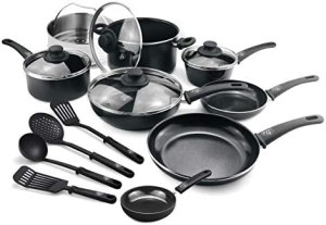 GreenLife Soft Grip Healthy Ceramic Nonstick, Cookware Pots and Pans Set, 16 Piece, Black