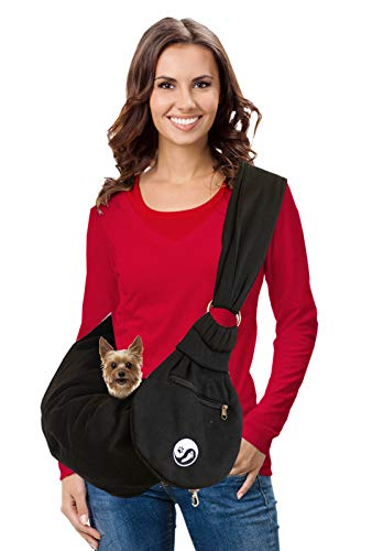 Timetuu Pet Sling Carrier for Small Dogs or Cats: Reversible Hands-Free Puppy Tote Bag with Adjustable Strap, Pocket and Bonus Carry Bag, 6 to 12 Lbs 1