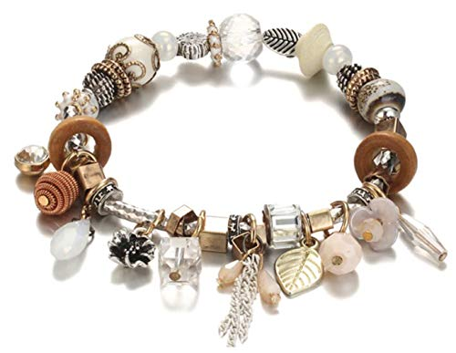 Blazing Autumn Boho Bangle Bracelet with Beads Charms Crystals and Tassels & Bangles for Women and Teens (White Multi)