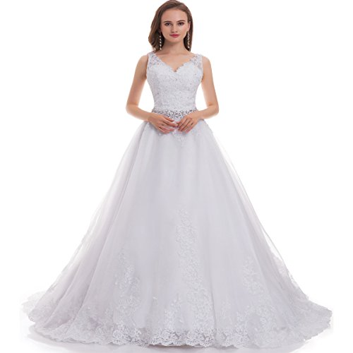 """41JhBtf P0L Lace Applique, Full Lined, Build in Bra, Straps,V-neck, lace up back. We make it in new style of the back(Corset back ), the dress is adjustable. We try to improve more details, we will do better with your support. When you order it,please choose """"Fair Lady Wedding dress"""" to get the the best quality,we have our own brand name, the dress from other sellers is Fakes. Color: We need to emphasize that ivory is only a little deeper than white, the white is pure white. The first photo on site is more beige(little yellow)color, thanks for your attention."""