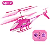10 Year Old and Up Girl Gift Pink Mini Remote Control Helicopter Toy for Kids Girls, Indoor Flying Toys RC 3.5 Channel Gyro Helicopter Airplane