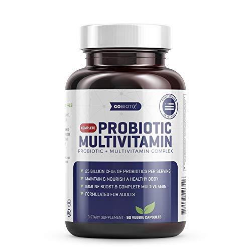 Probiotic Multivitamin - 2-in-1 Complete Daily Multivitamin Combined with 25 Billion CFU of Probiotics - Immune Boost & Digestive Health - Nourish a Healthy Gut - Non-GMO Gluten Free - 90 Vegan Caps