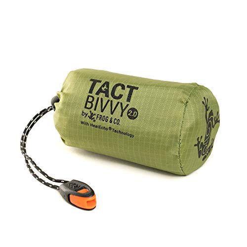 Tact Bivvy 2.0 Compact Ultra Lightweight Sleeping Bag - 100% Waterproof Ultralight Thermal Bivy Sack Cover, Emergency Space Blanket Liner Bags for Emergency Shelter, Tent Camping, Survival, Frog&Co.