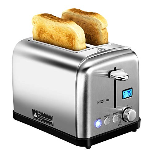 Holife 2 Slice Toaster Stainless Steel with with 6 Bread Shade Settings Bagel/Defrost/Reheat/Cancel Function, Extra Wide Slots, Removable Crumb Tray, 900W, Silver