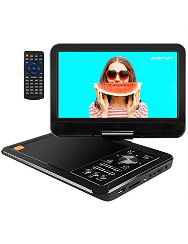 "APEMAN 10.5"" Portable DVD Player with Swivel Screen Remote Controller Support SD Card USB DVD AV in/Out Earphone Speaker 5 Hours Built in Rechargeable Battery for TV Kids Car Travel Companion"