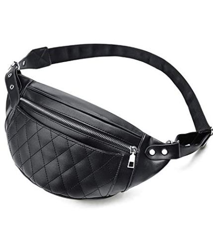 a9fbe6c84c1 Florenceenid Lattice Line Waist Bag Zipper Leather Chest Pack Crossbody Bag  Shoulder Bag
