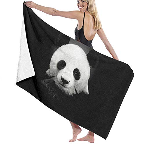BLY SKUE Chinoiserie Panda in Dark Microfibre Bath Towels for Yoga Travel Quick Dry Towel for Bathing Sand Free Beach Towels