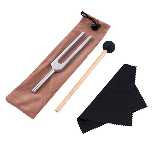 QIYUN Tuning Fork, 528 Hz Tuning Fork with Silicone Hammer and Cleaning Cloth Solfeggio Tuning Fork for DNA Repair Healing and Perfect Healing Musical Instrument