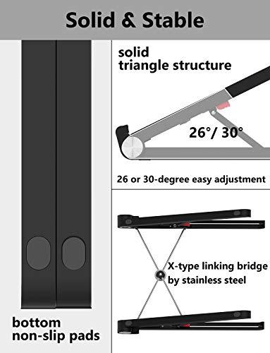 MiiKARE Adjustable Laptop Stand for Desk Portable Lightweight Notebook Holder Foldable Desktop for Riser Table Tray Mount Ventilated Ergonomic Height Storage Bag Included Black