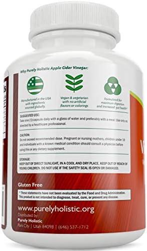 Apple Cider Vinegar Capsules, - 180 Vegan ACV Capsules, High Strength Apple Cider Vinegar Pills, Purely Holistic 3