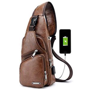 Men Shoulder Crossbody Sling Bag, PU Leather Chest Backpacks Crossbody Daypacks with USB Charging Port for Outdoor Activities (Light Brown) 9 Fashion Online Shop Gifts for her Gifts for him womens full figure