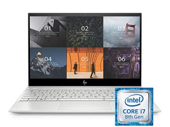 HP ENVY 13' Thin Laptop w/ Fingerprint Reader, 4K Touchscreen, Intel Core i7-8565U, NVIDIA GeForce MX250 Graphics, 16GB SDRAM, 512GB SSD, Windows 10 Home (13-aq0044nr, Natural Silver)