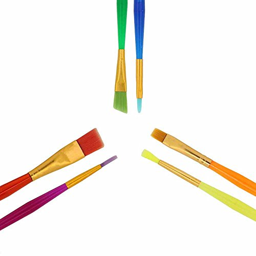 Paint Brushes,AOKEY Colorful 6 Pieces Paint Brushes Set Artist Paint Brushes Set for Watercolor,Acrylic & Oil Paintings,Perfect for Painting Canvas,Ceramic,Clay,Wood & Models,Great Gift for Kids,Art